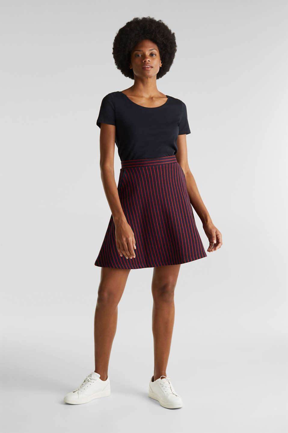 Esprit - Flared sweatshirt fabric skirt with stripes