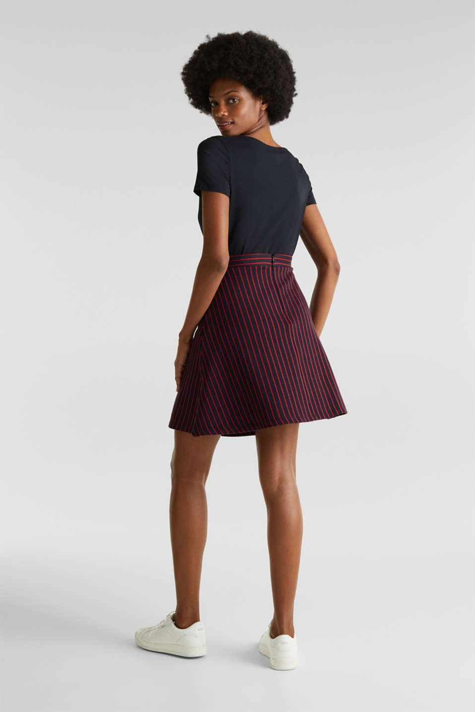 Flared sweatshirt fabric skirt with stripes, NAVY 2, detail image number 3