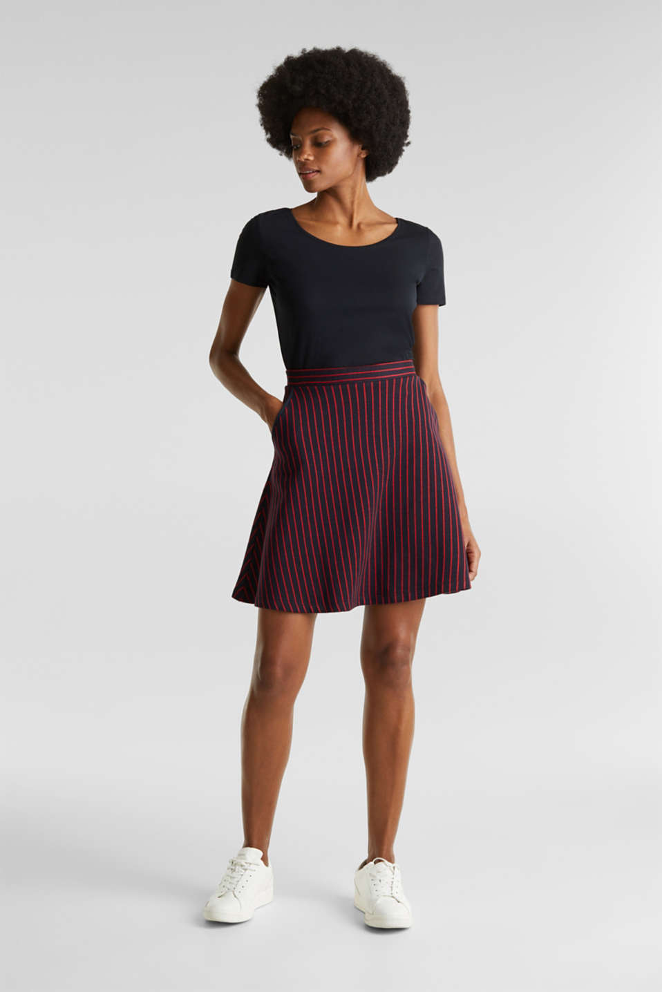 Flared sweatshirt fabric skirt with stripes, NAVY 2, detail image number 1