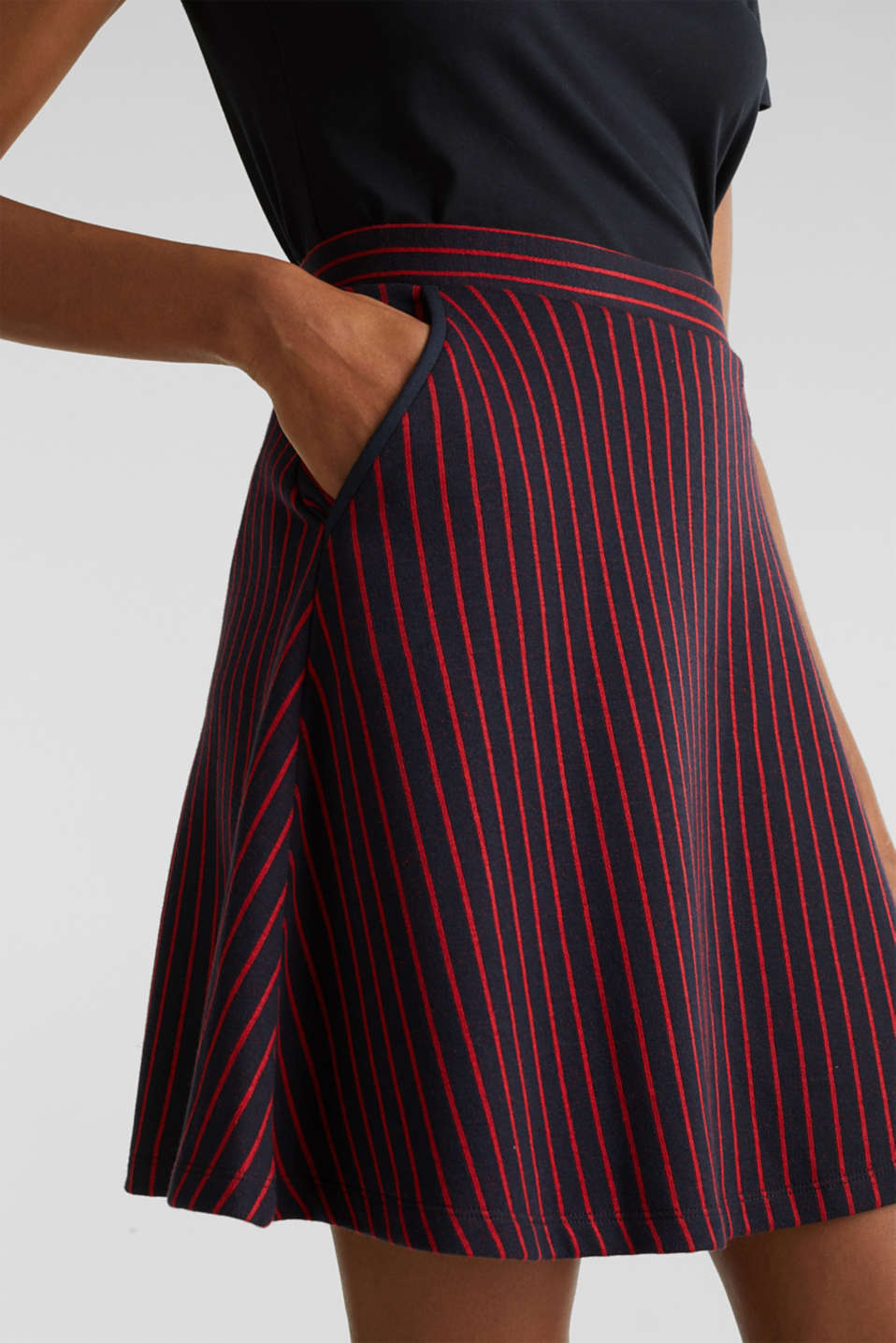 Flared sweatshirt fabric skirt with stripes, NAVY 2, detail image number 2