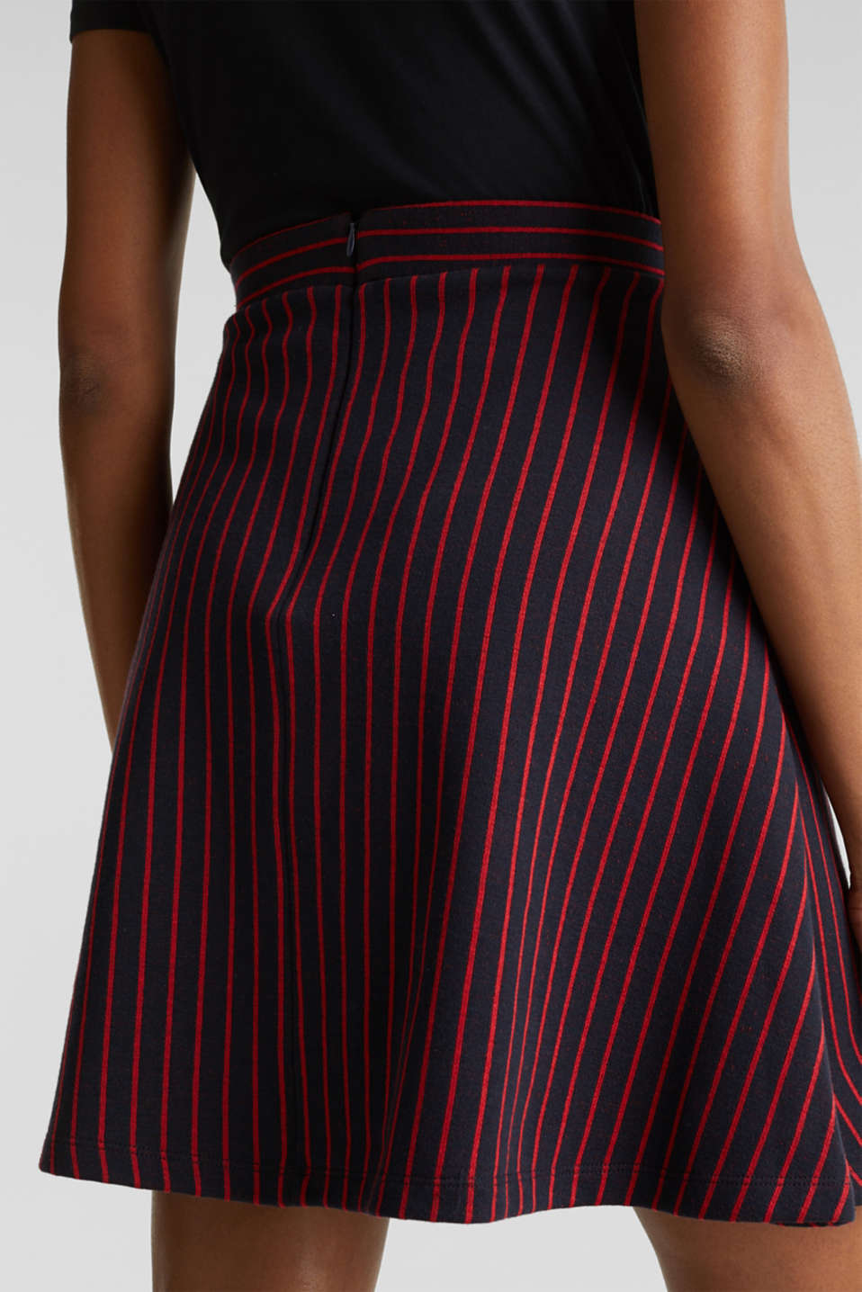 Flared sweatshirt fabric skirt with stripes, NAVY 2, detail image number 5