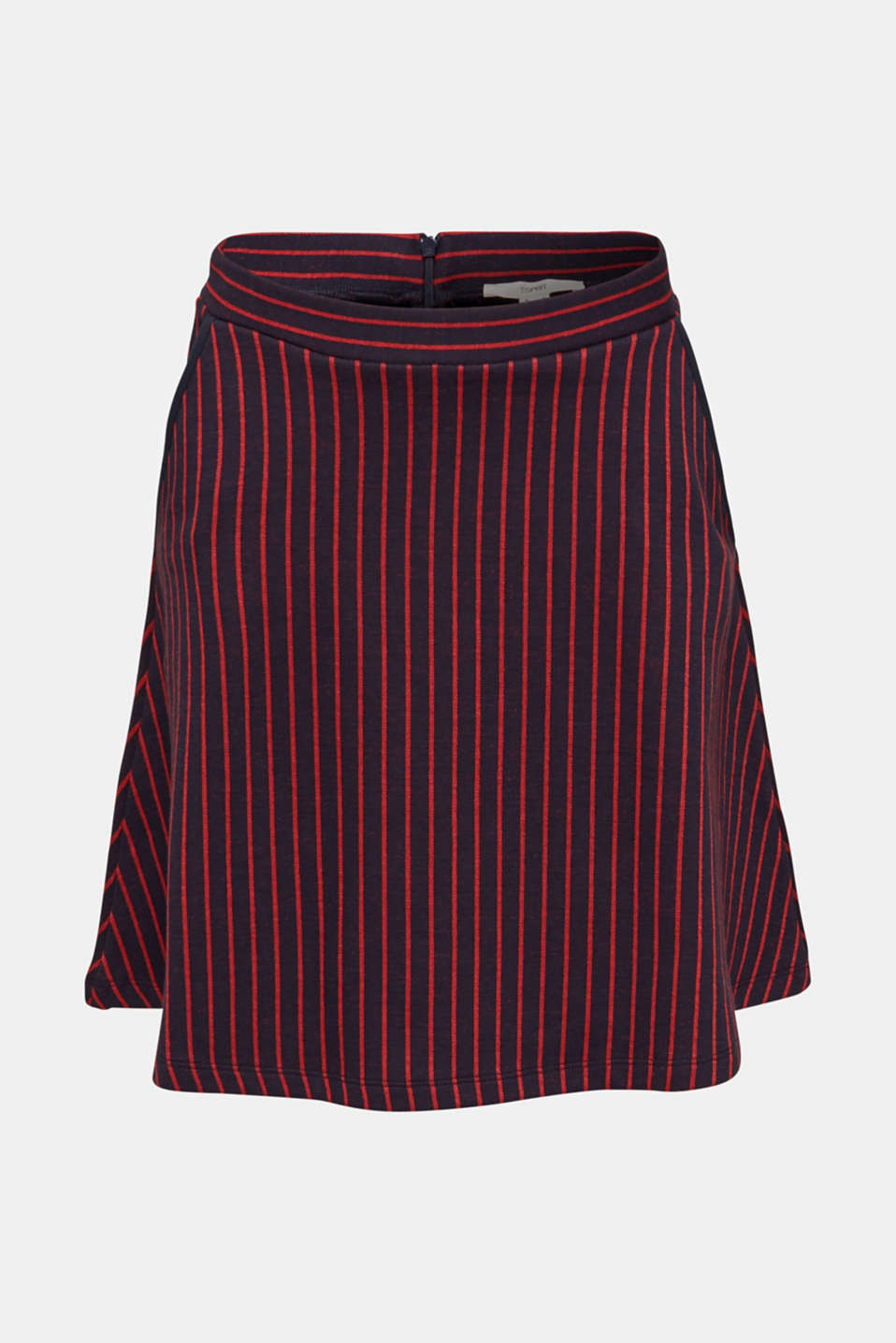 Flared sweatshirt fabric skirt with stripes, NAVY 2, detail image number 6