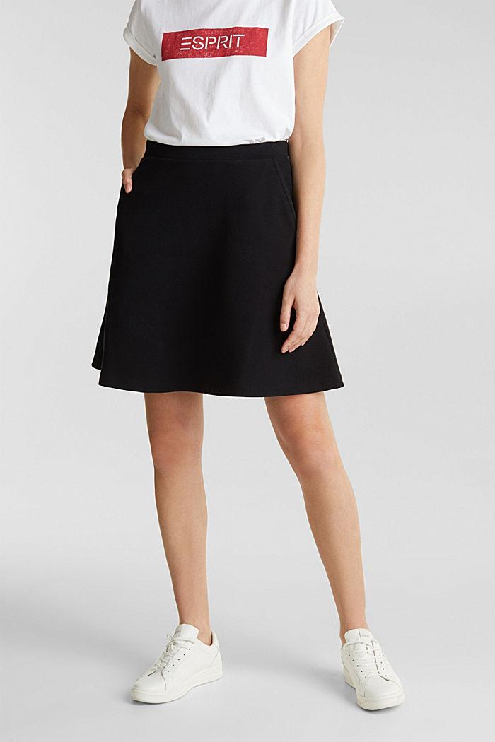 Rozszerzana spódnica z piki i streczu, BLACK, detail image number 0