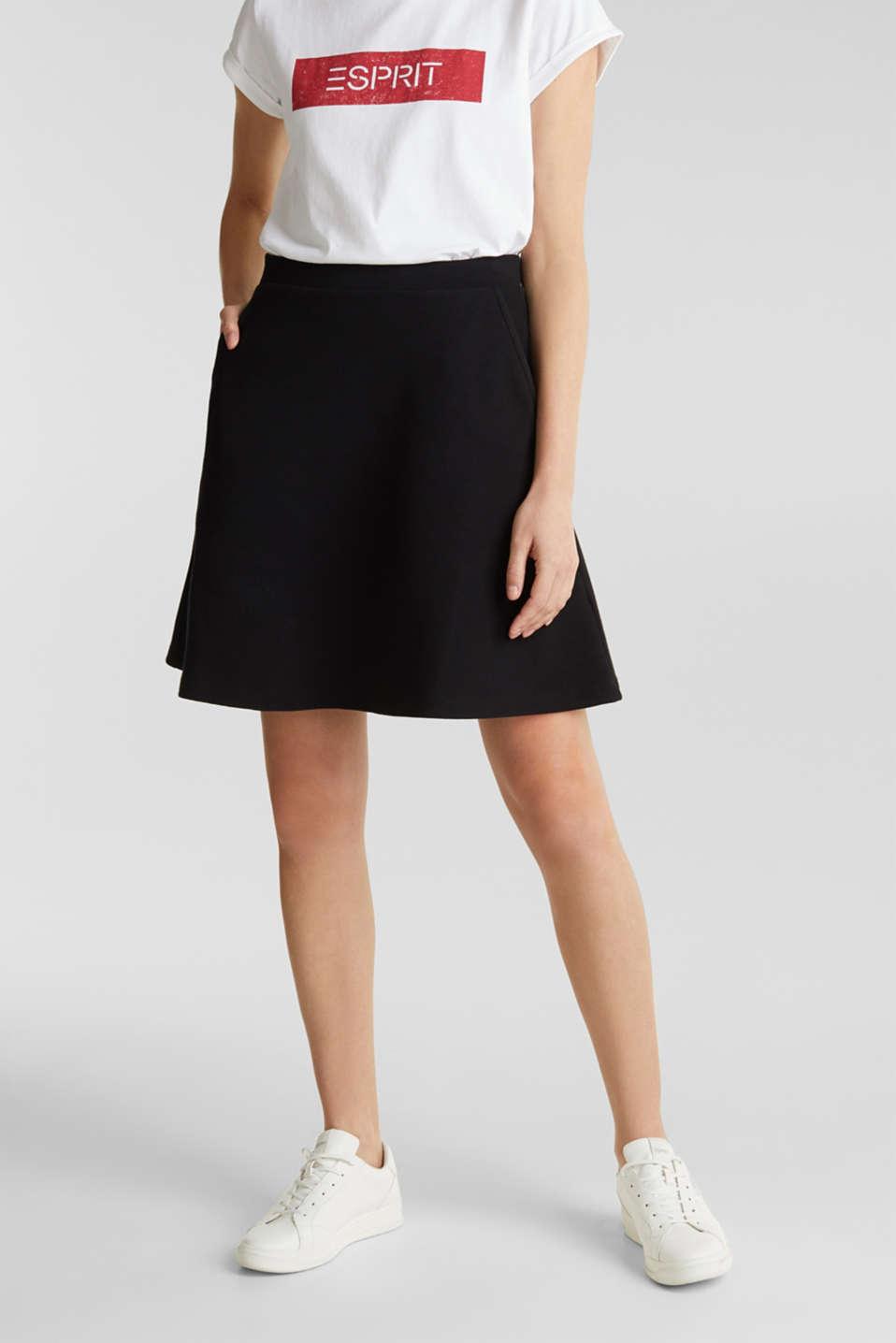 Flared stretch piqué skirt, BLACK, detail image number 0