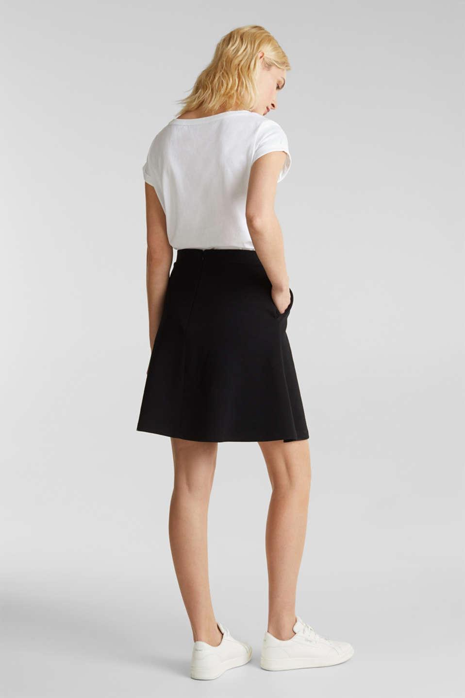Flared stretch piqué skirt, BLACK, detail image number 2