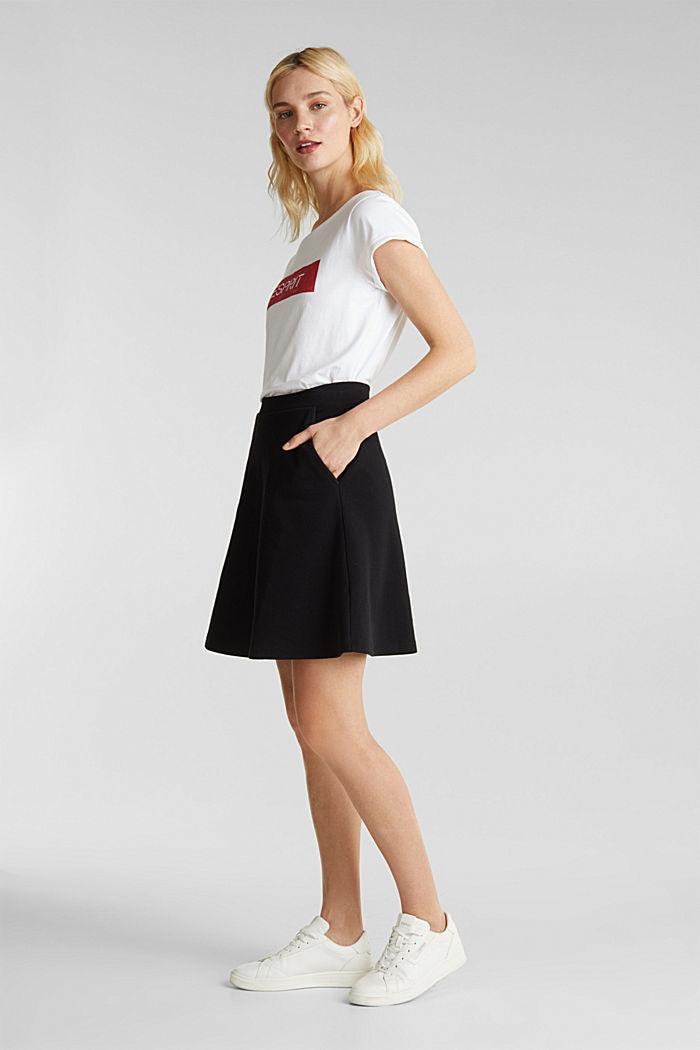 Rozszerzana spódnica z piki i streczu, BLACK, detail image number 1