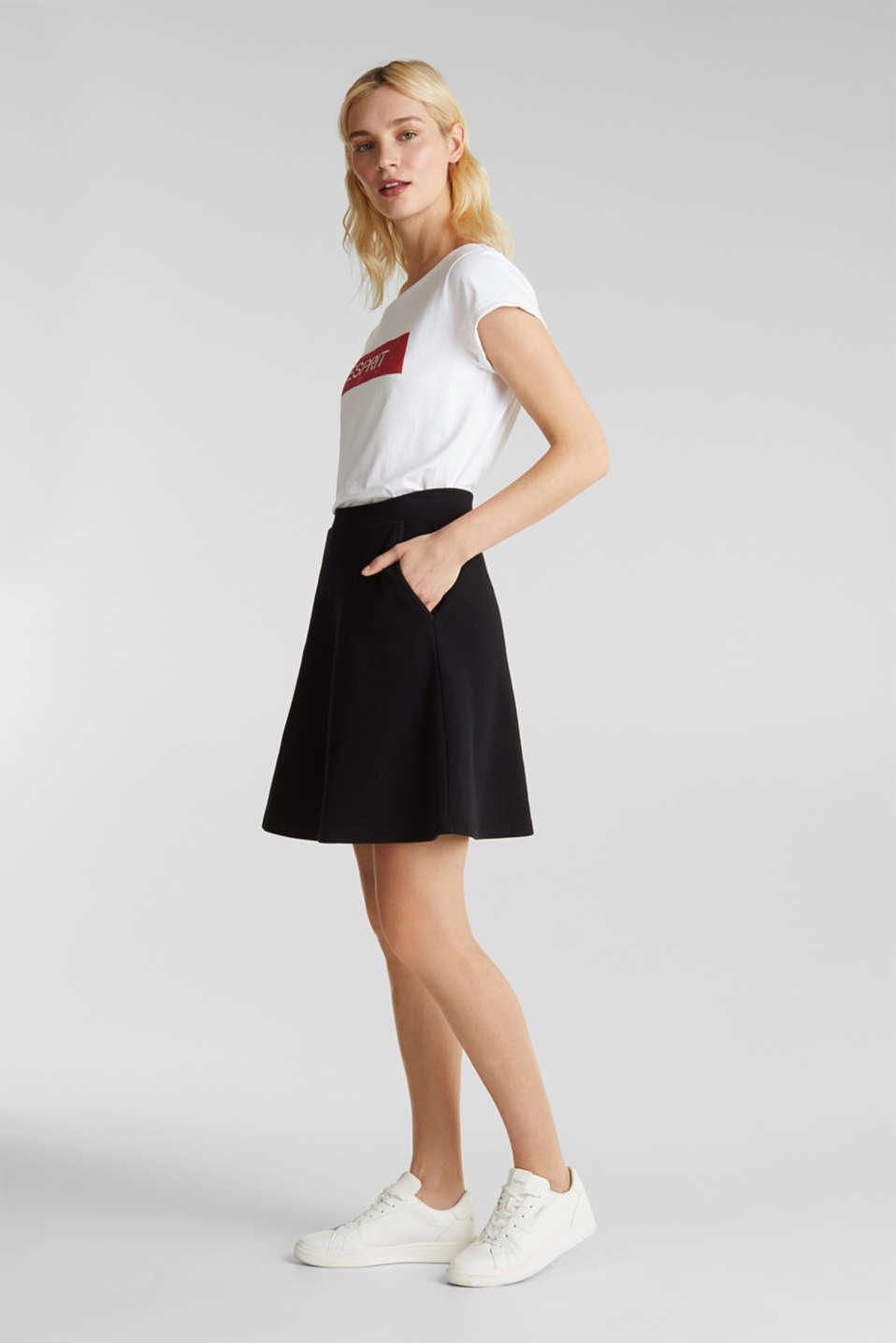 Flared stretch piqué skirt, BLACK, detail image number 1