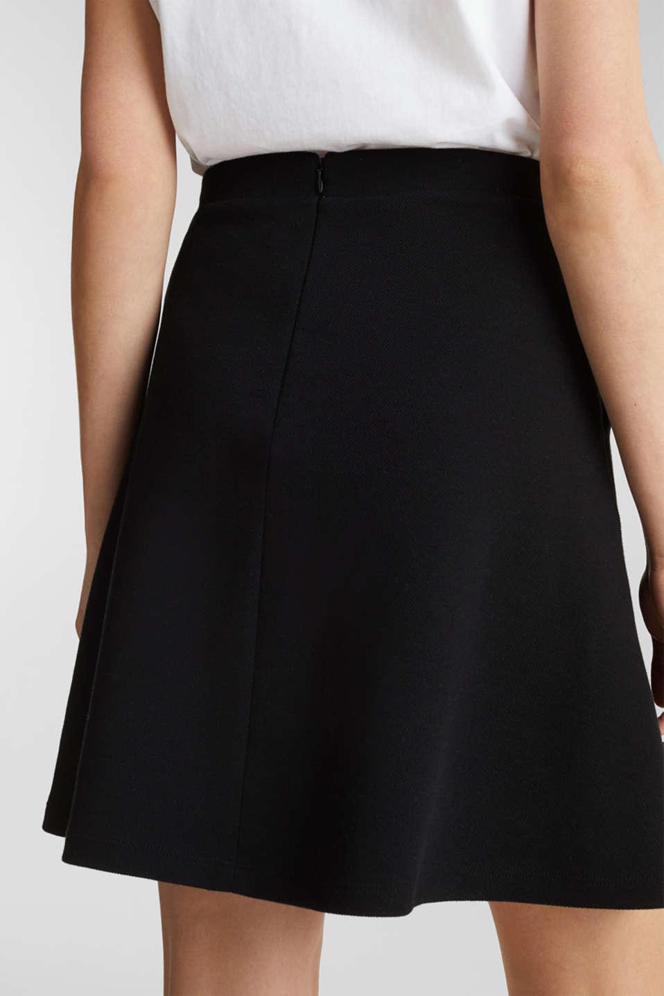 Flared stretch piqué skirt, BLACK, detail image number 4