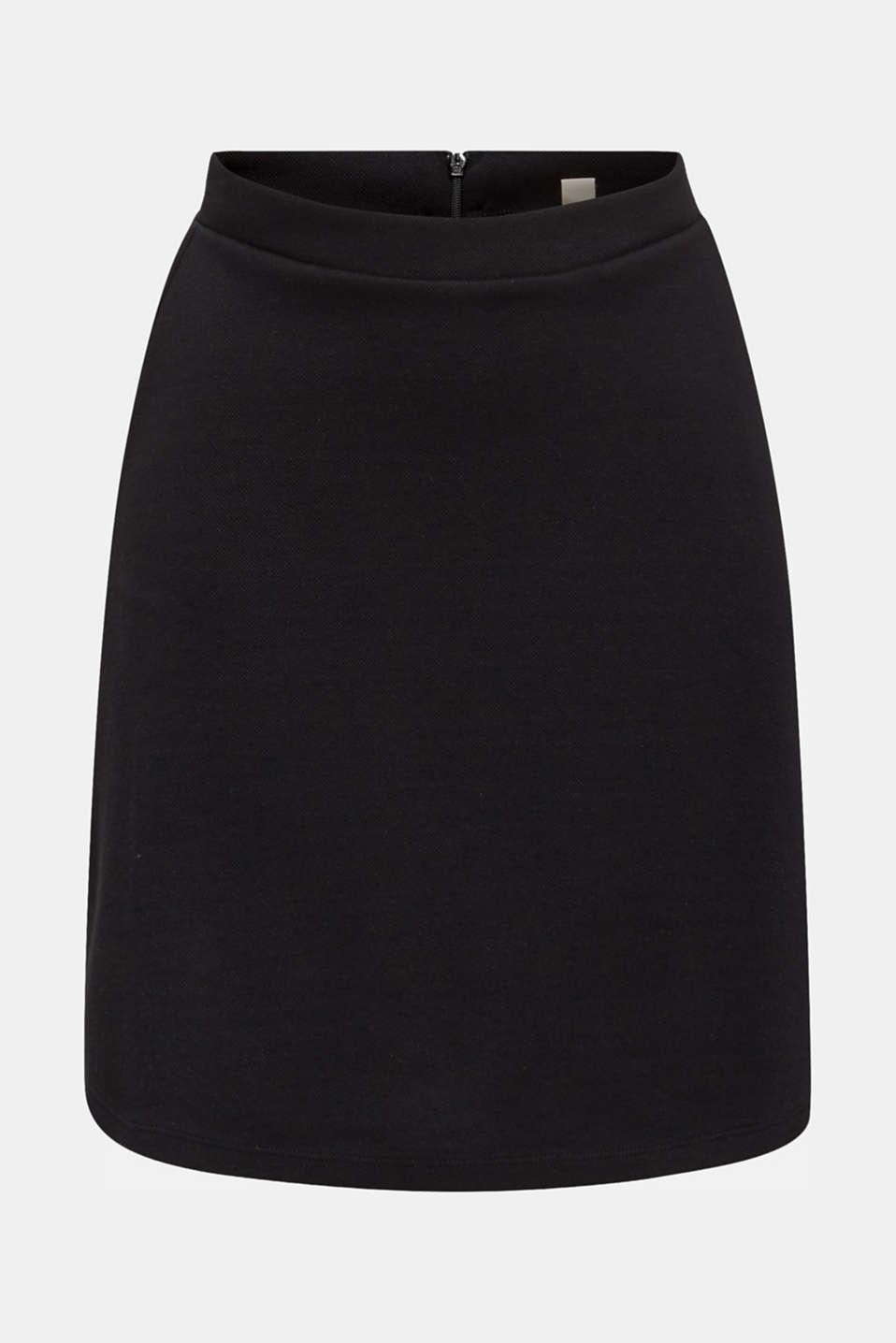 Flared stretch piqué skirt, BLACK, detail image number 5