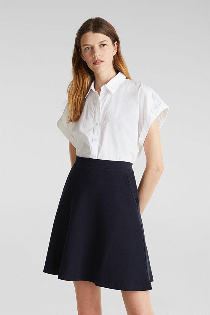 Flared stretch piqué skirt, NAVY, detail image number 0