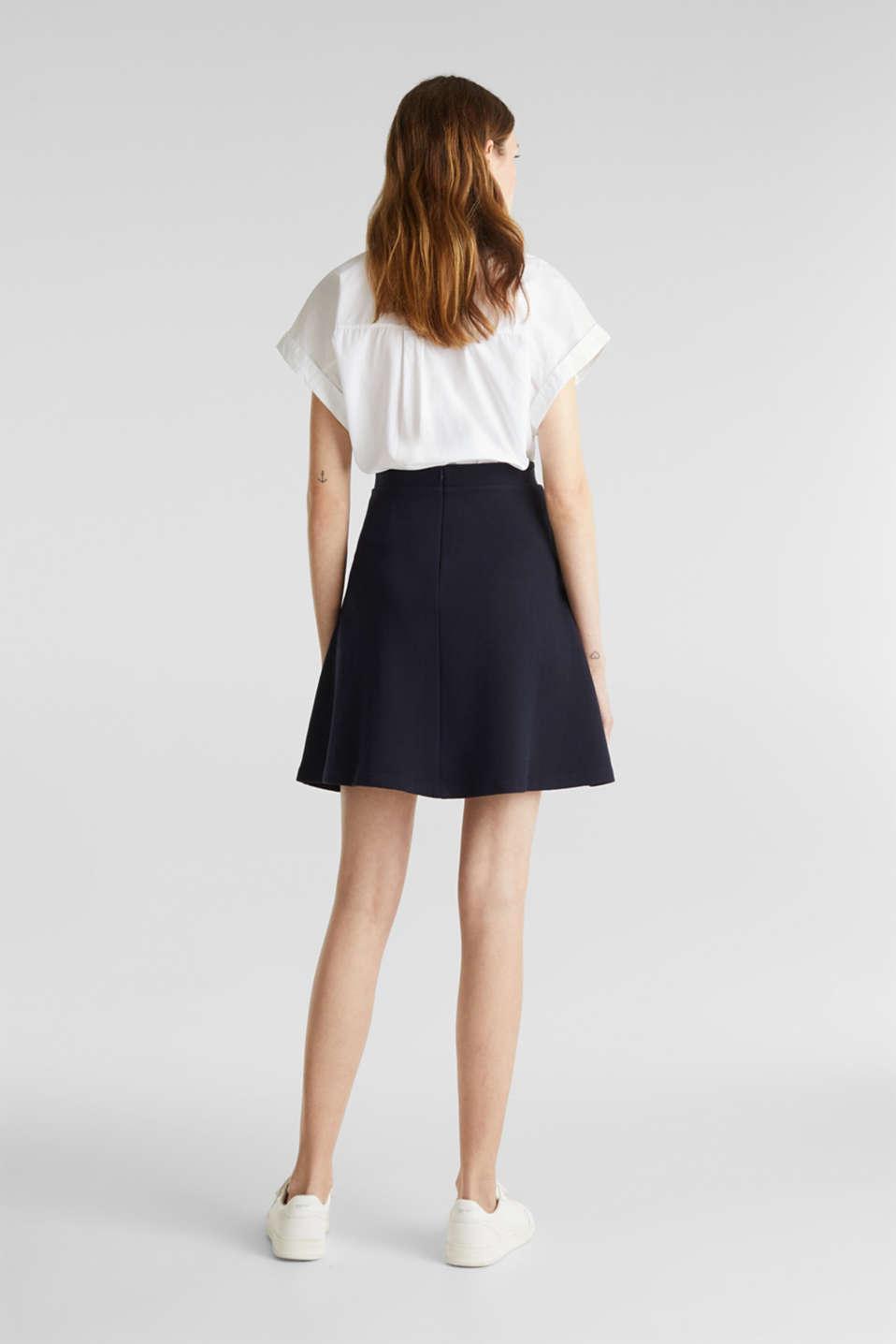 Flared stretch piqué skirt, NAVY, detail image number 3