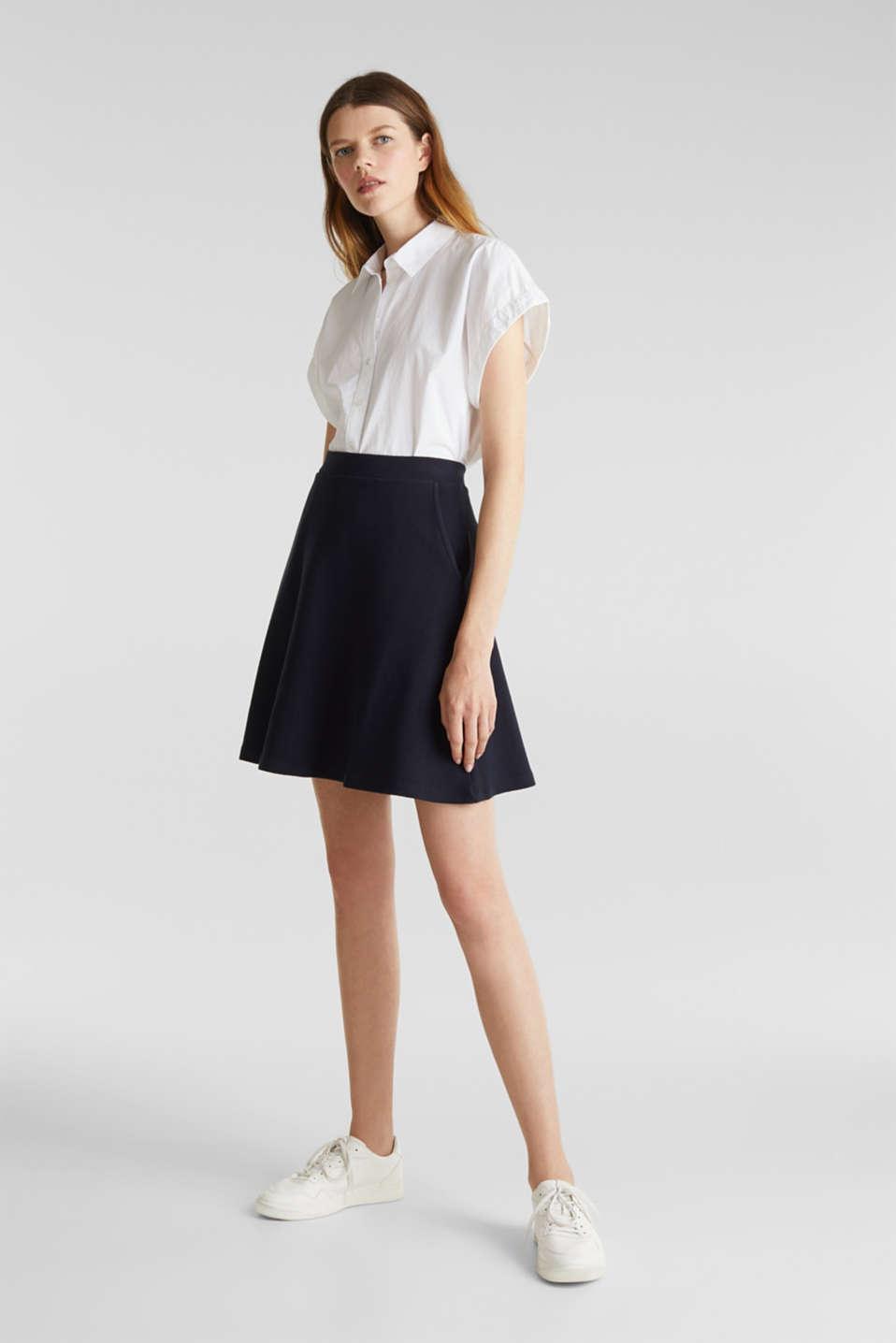 Flared stretch piqué skirt, NAVY, detail image number 1