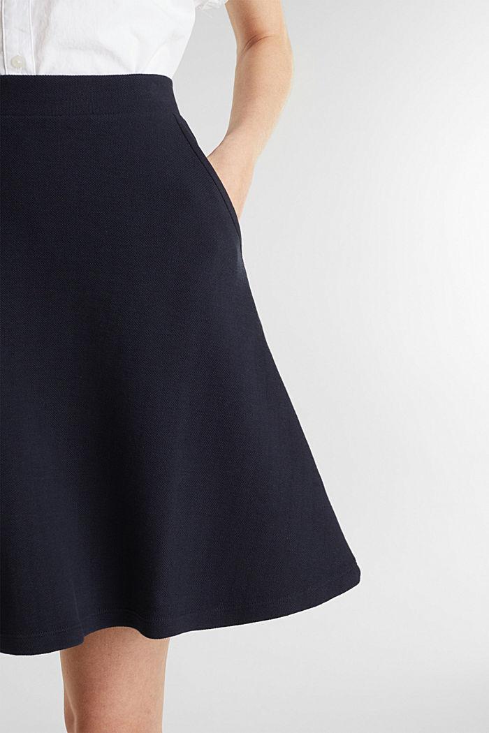 Flared stretch piqué skirt, NAVY, detail image number 2