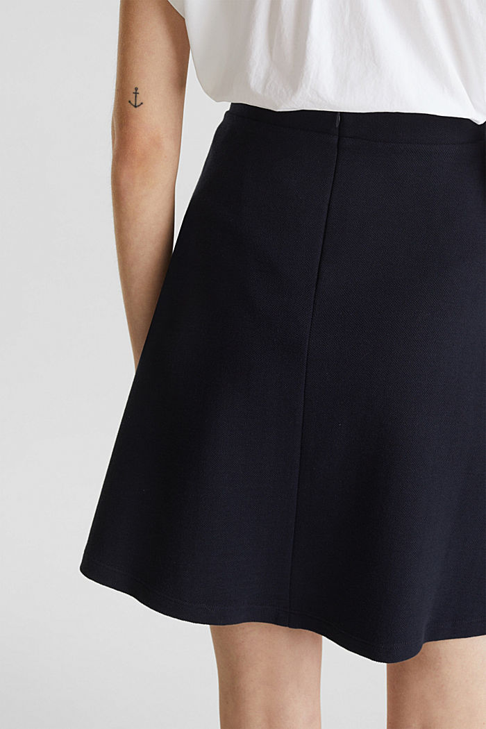 Flared stretch piqué skirt, NAVY, detail image number 5
