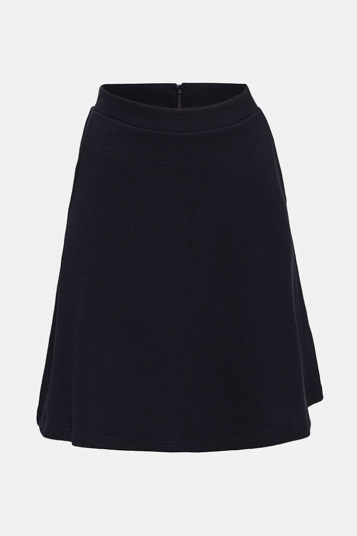Flared stretch piqué skirt, NAVY, detail image number 6
