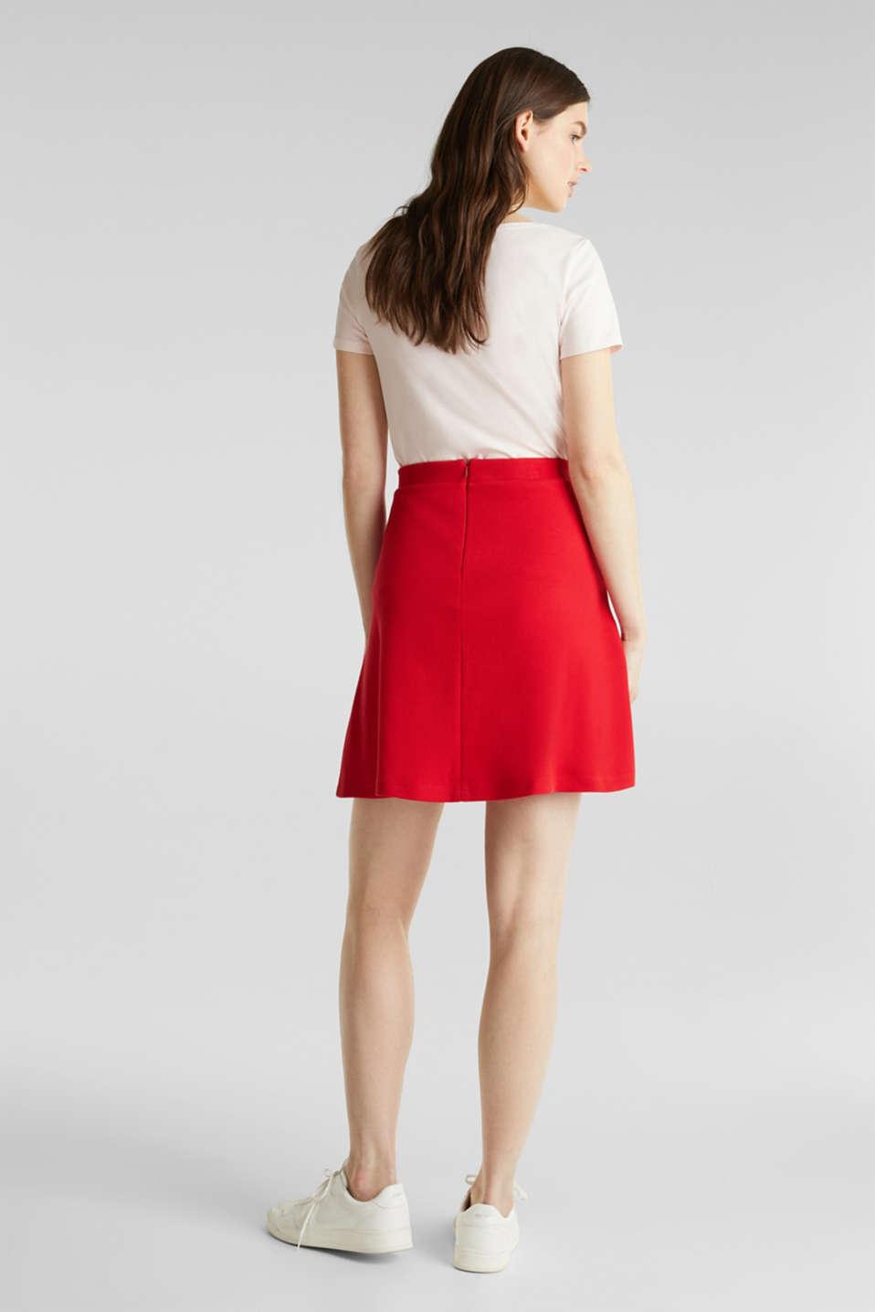 Flared stretch piqué skirt, DARK RED, detail image number 2