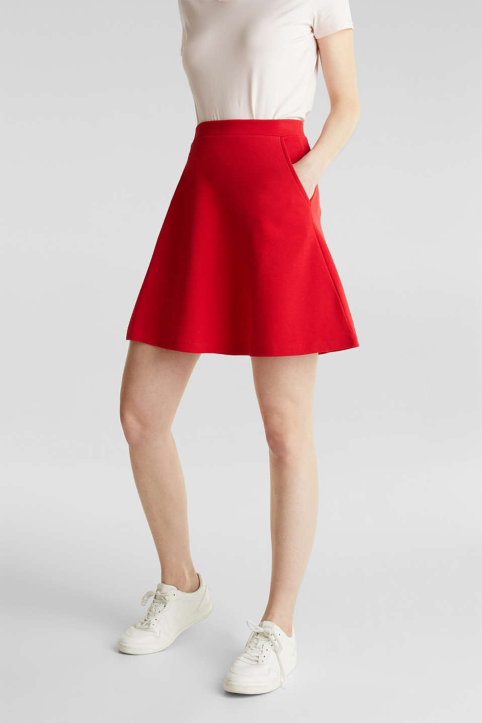 Flared stretch piqué skirt, DARK RED, detail image number 5