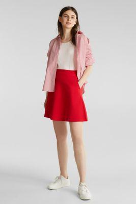 Flared stretch piqué skirt, DARK RED, detail