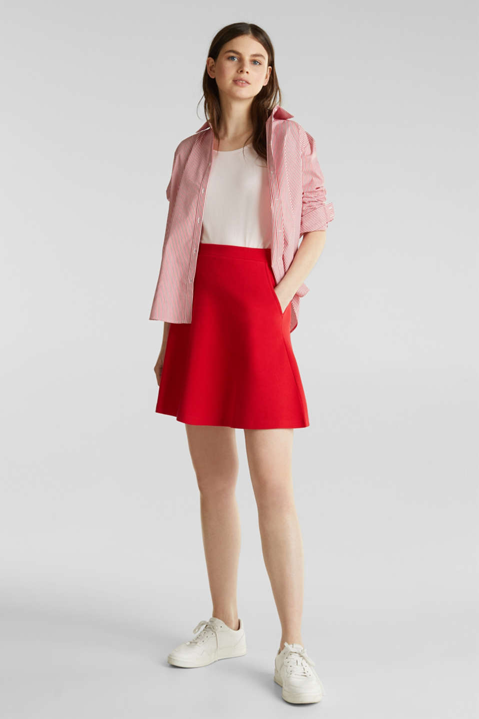 Flared stretch piqué skirt, DARK RED, detail image number 1