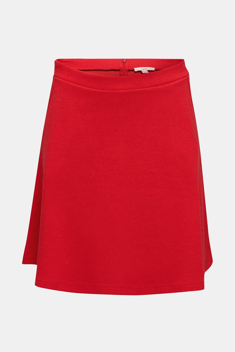 Flared stretch piqué skirt, DARK RED, detail image number 6