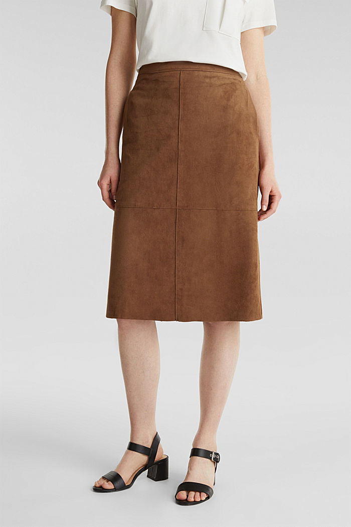 Flared faux leather skirt with stretch, BROWN, detail image number 0