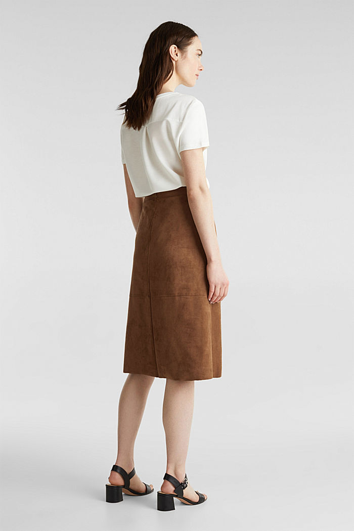 Flared faux leather skirt with stretch, BROWN, detail image number 3