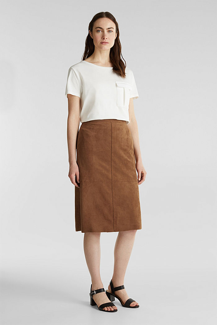 Flared faux leather skirt with stretch, BROWN, detail image number 6