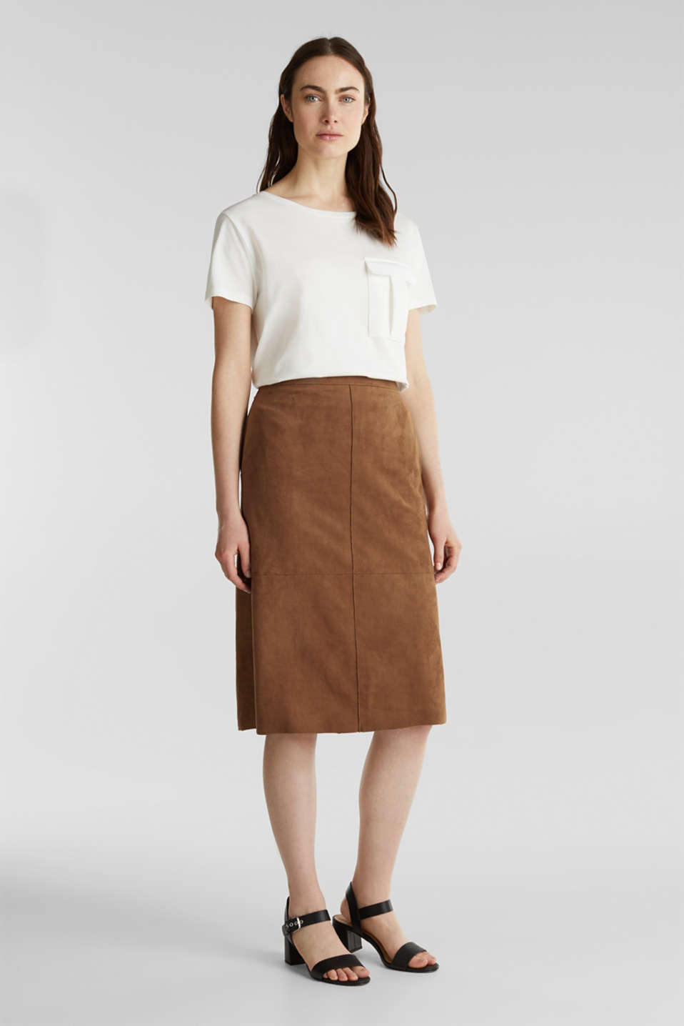 Flared faux leather skirt with stretch, TOFFEE, detail image number 7