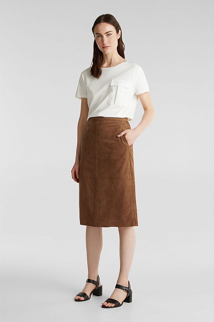 Flared faux leather skirt with stretch, BROWN, detail image number 1
