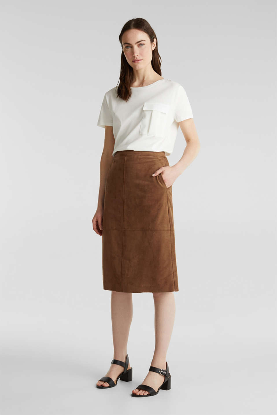 Flared faux leather skirt with stretch, TOFFEE, detail