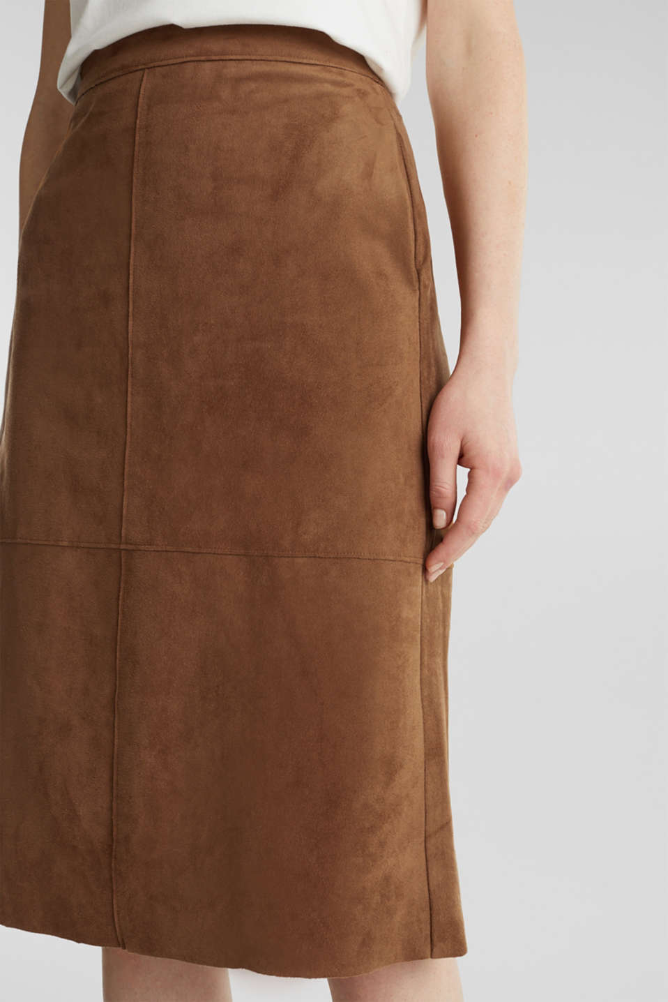 Flared faux leather skirt with stretch, TOFFEE, detail image number 2