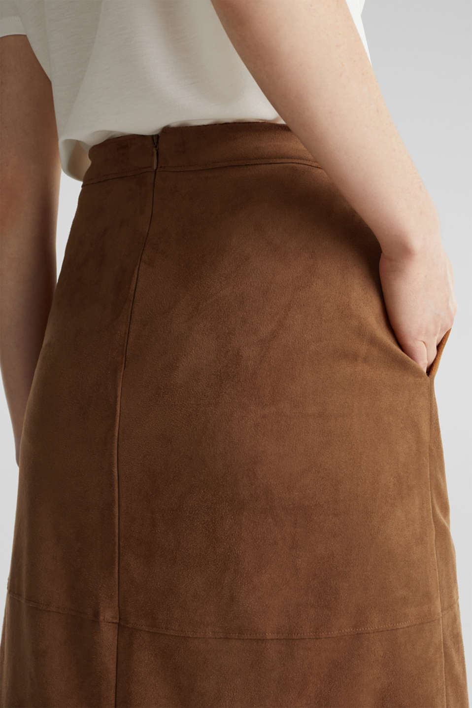 Flared faux leather skirt with stretch, TOFFEE, detail image number 6
