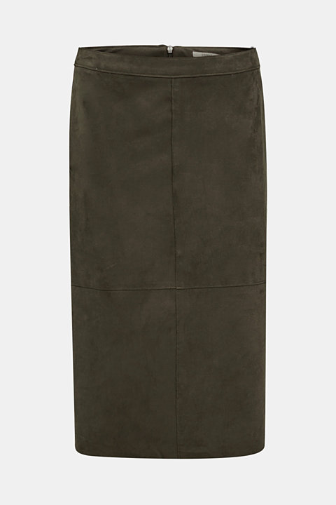 Flared faux leather skirt with stretch