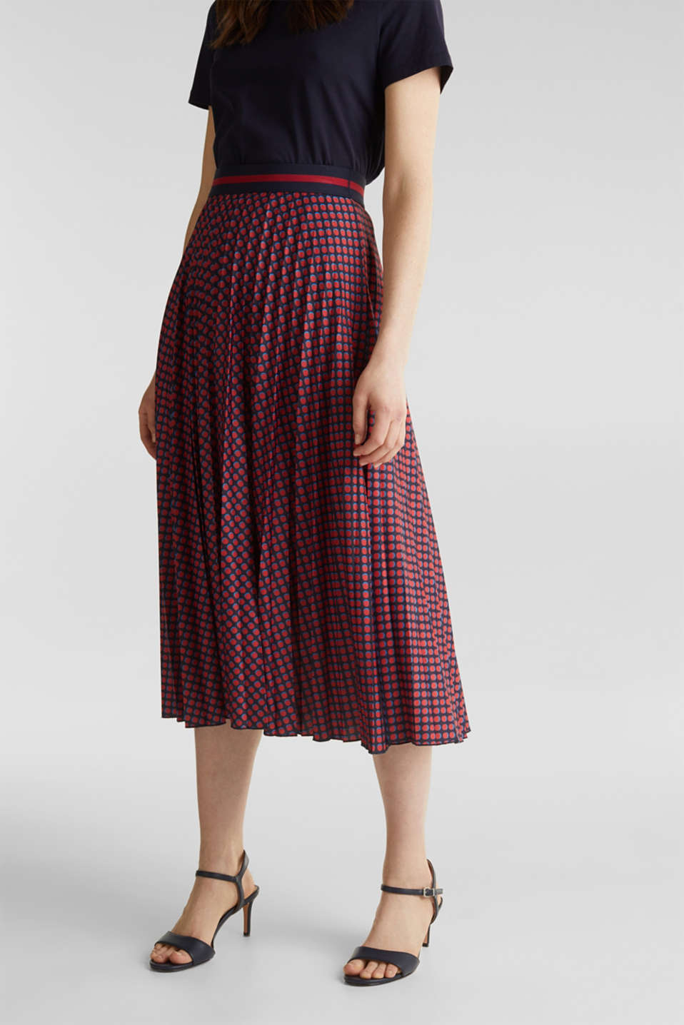 Esprit - Stretch jersey skirt with accordion pleats