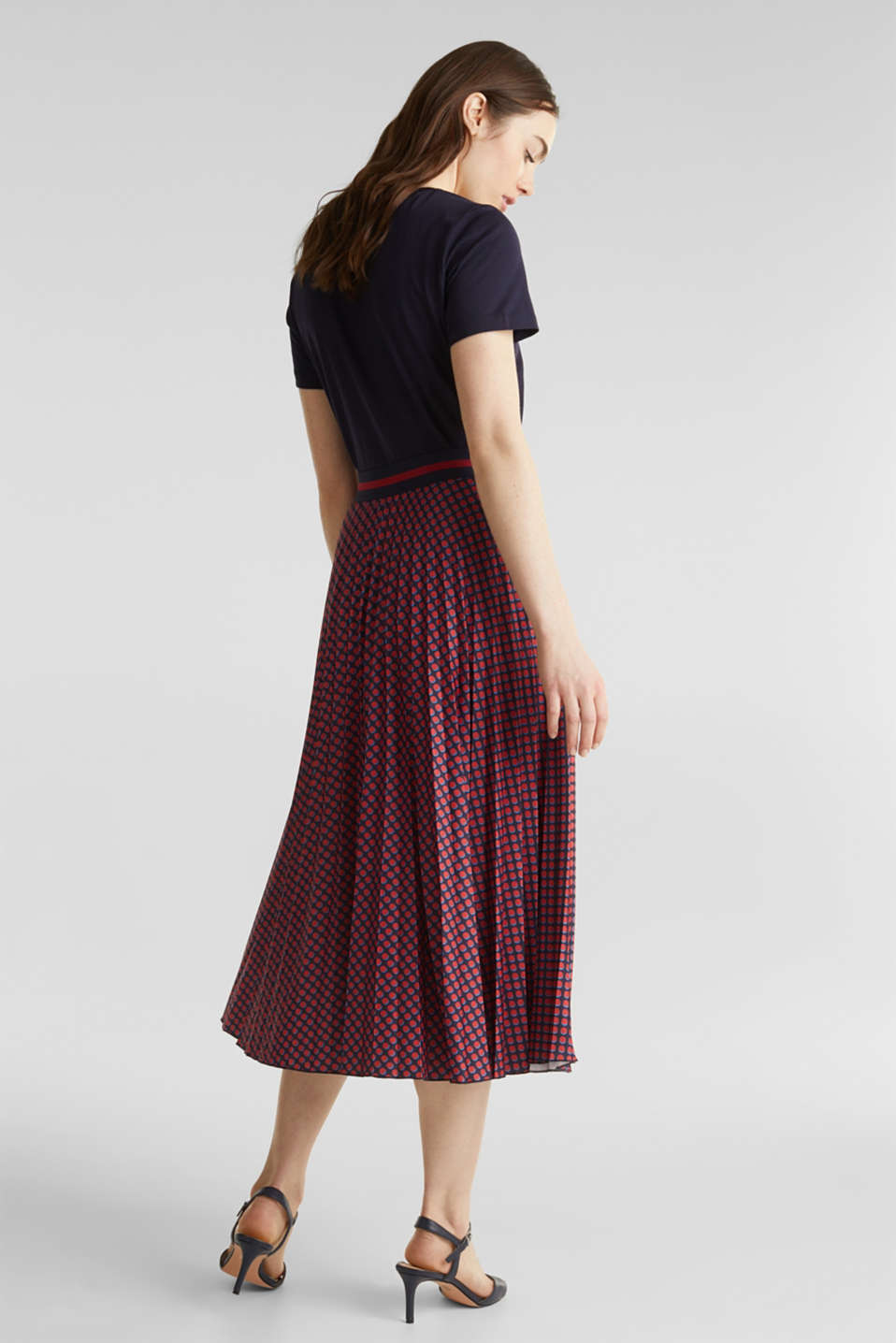 Stretch jersey skirt with accordion pleats, NAVY 4, detail image number 3