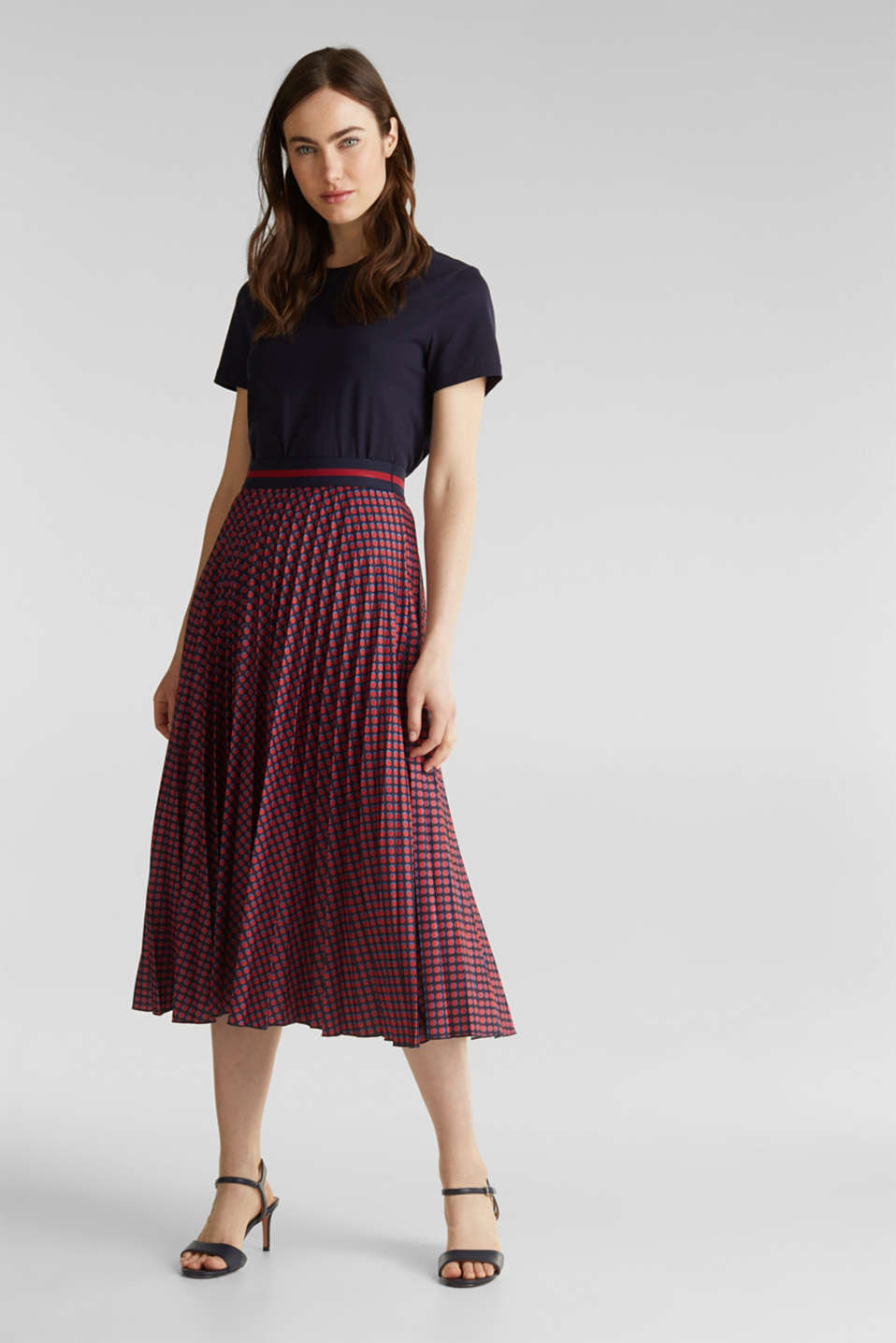 Stretch jersey skirt with accordion pleats, NAVY 4, detail image number 5