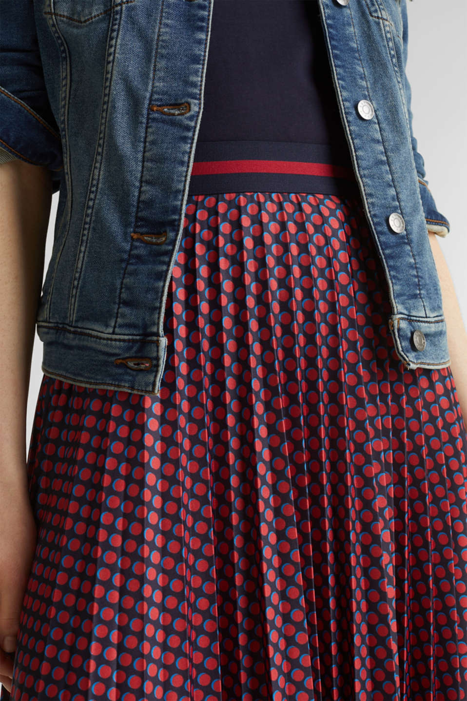 Stretch jersey skirt with accordion pleats, NAVY 4, detail image number 2