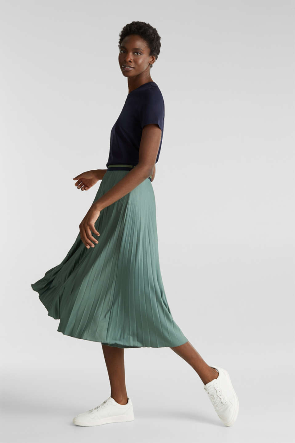 Stretch jersey skirt with accordion pleats, KHAKI GREEN, detail image number 0