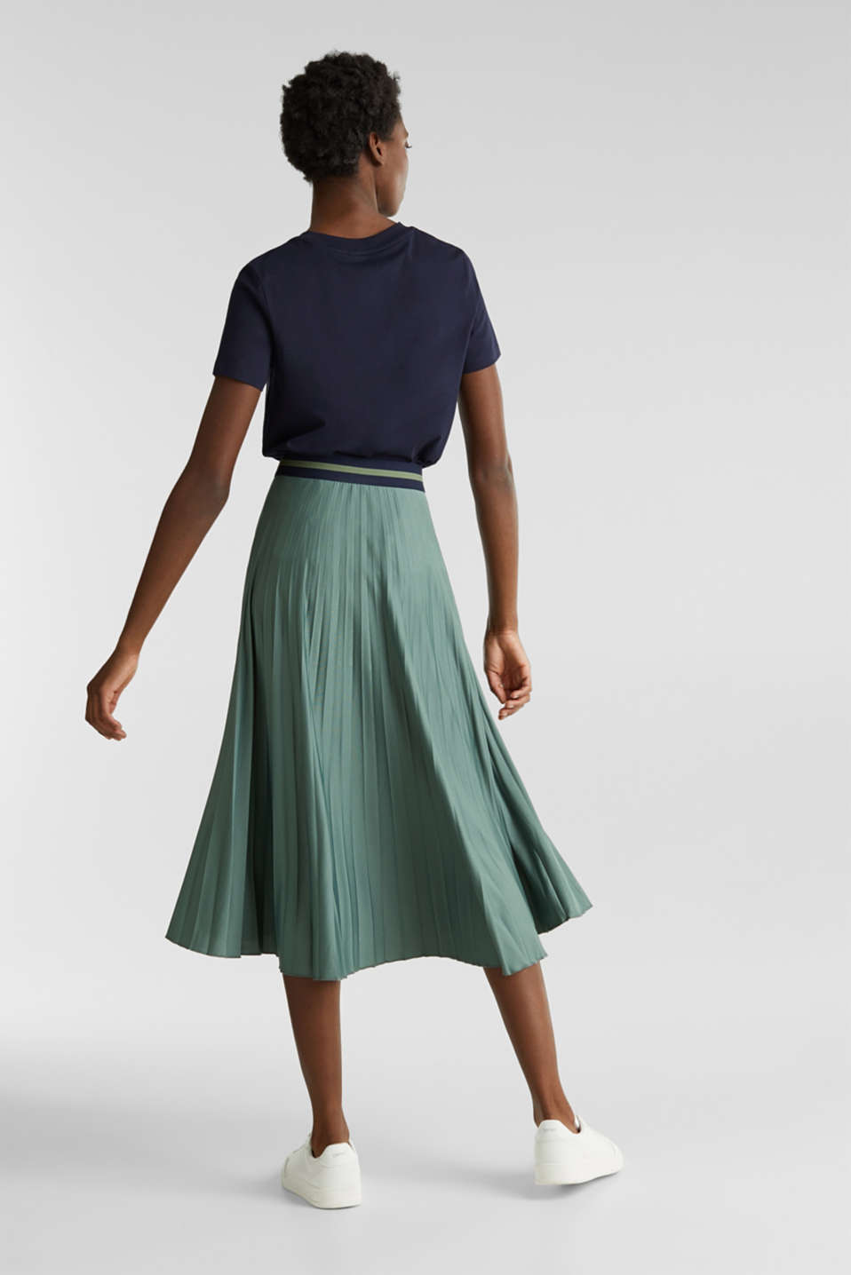 Stretch jersey skirt with accordion pleats, KHAKI GREEN, detail image number 3