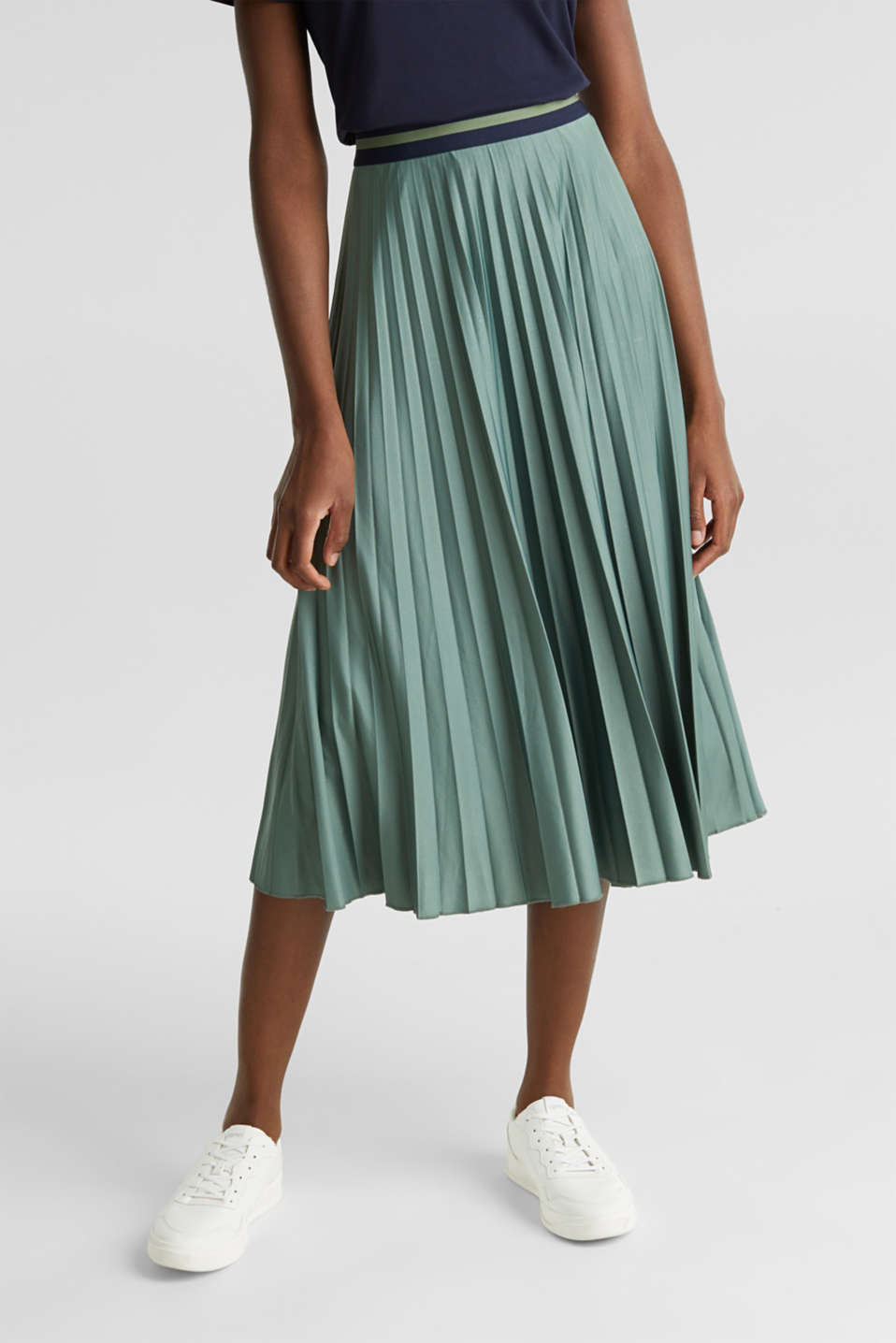 Stretch jersey skirt with accordion pleats, KHAKI GREEN, detail image number 6
