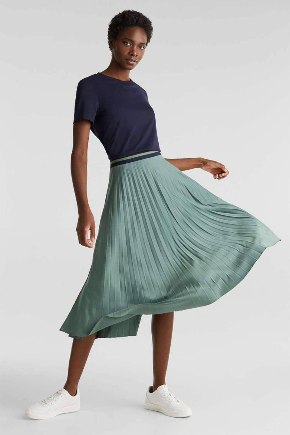 Stretch jersey skirt with accordion pleats, KHAKI GREEN, detail image number 1