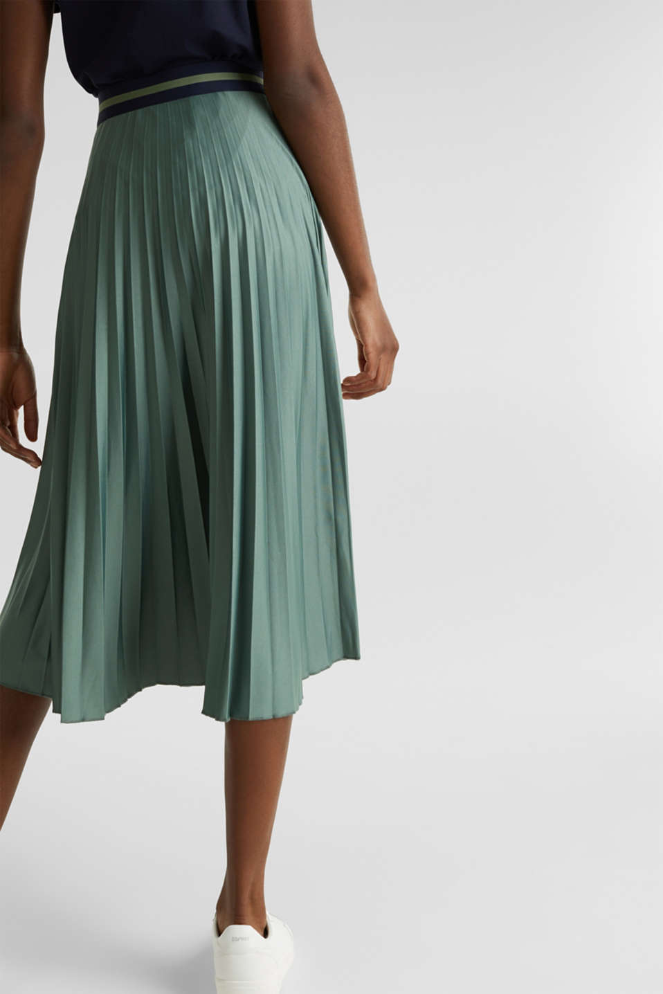 Stretch jersey skirt with accordion pleats, KHAKI GREEN, detail image number 2