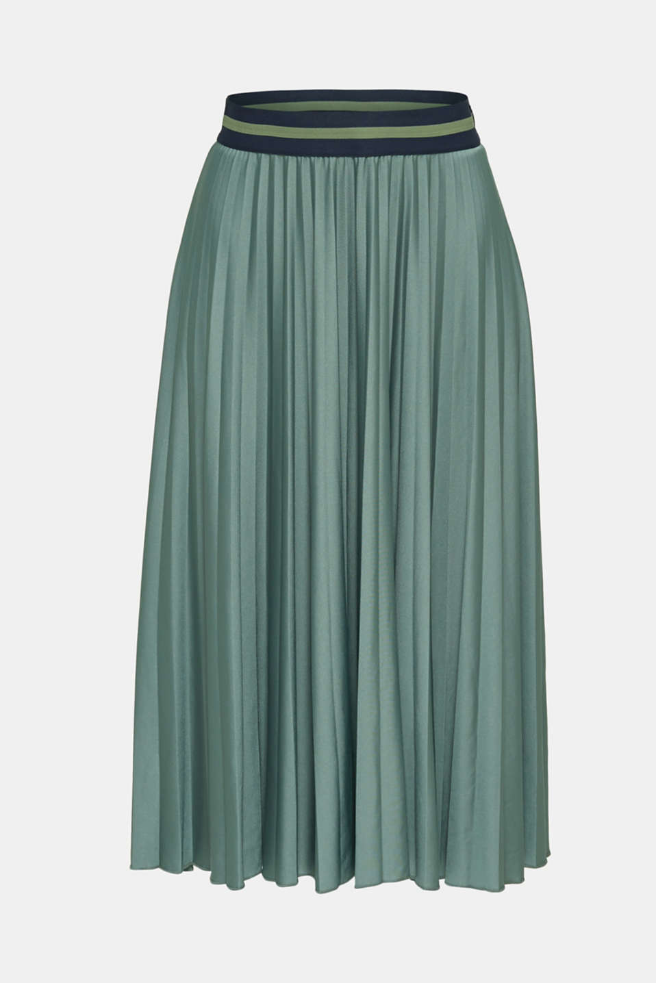 Stretch jersey skirt with accordion pleats, KHAKI GREEN, detail image number 7