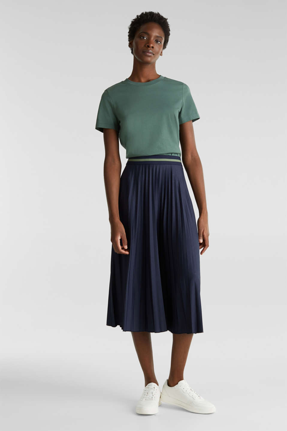 Stretch jersey skirt with accordion pleats, NAVY, detail image number 1