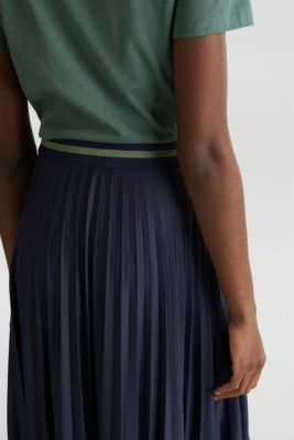 Stretch jersey skirt with accordion pleats, NAVY, detail
