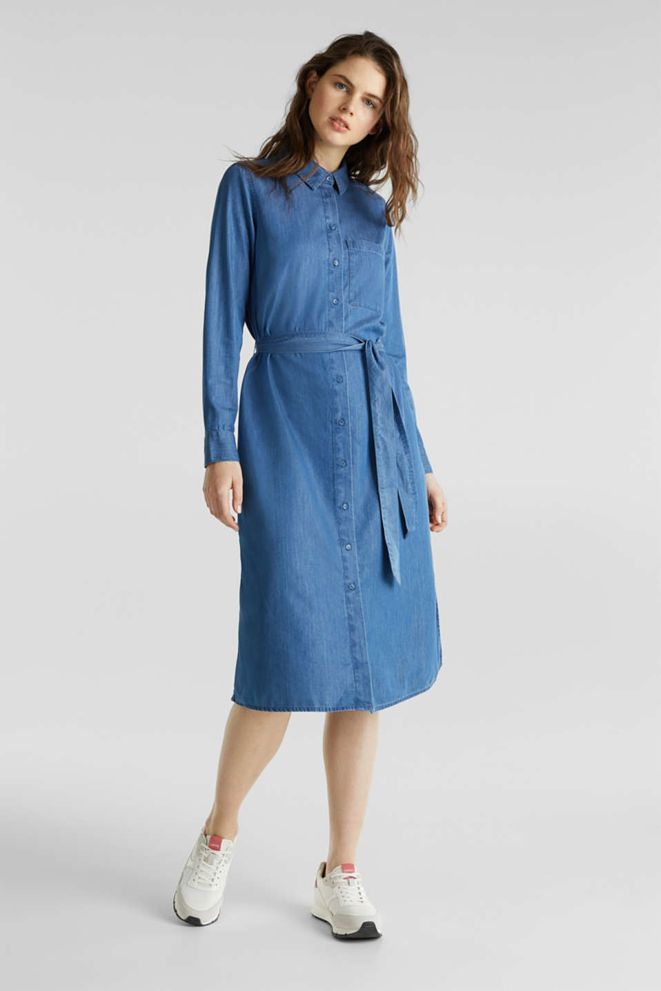 Shirt dress with lyocell, BLUE MEDIUM WASH, detail image number 0