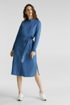 Shirt dress with lyocell, BLUE MEDIUM WASH, detail