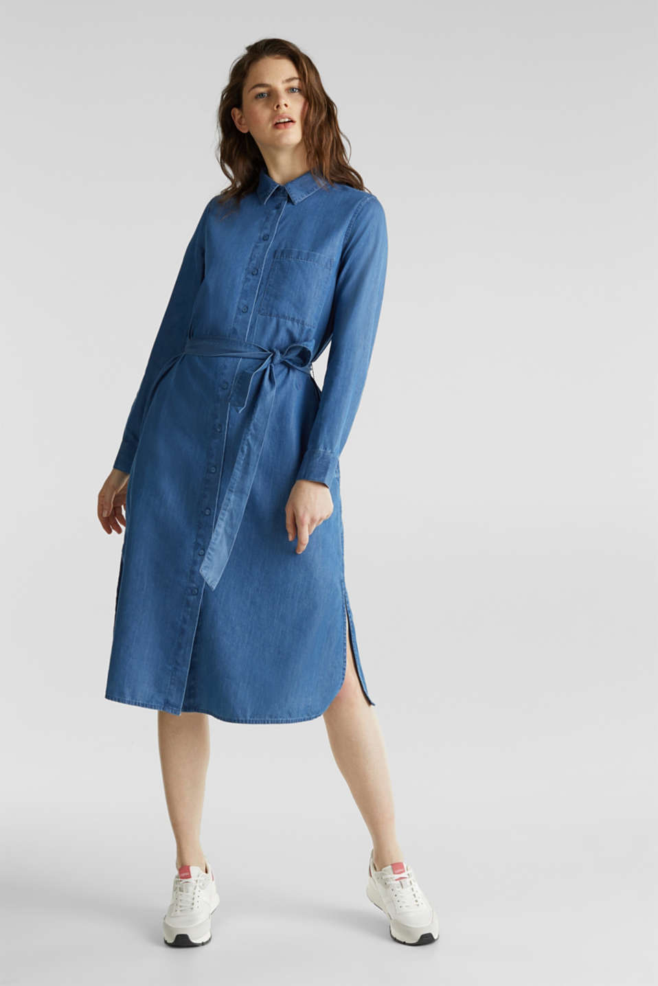 Shirt dress with lyocell, BLUE MEDIUM WASH, detail image number 1