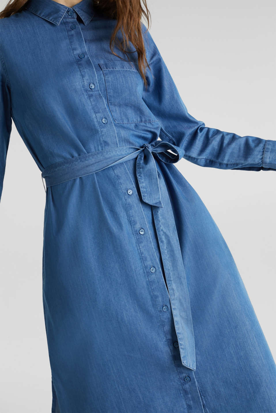 Shirt dress with lyocell, BLUE MEDIUM WASH, detail image number 3