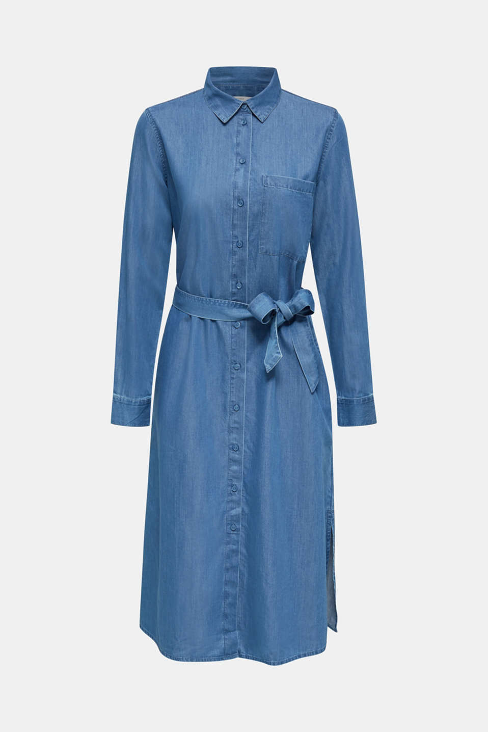 Shirt dress with lyocell, BLUE MEDIUM WASH, detail image number 4
